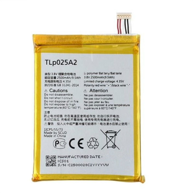 Аккумулятор 2500 мАч для ALCATEL one touch Pop 2/8008D/6040D/6043D/7047/Y710/Y900/TLp025A1/TLP025A2/5054/6043/7043/7044/7048