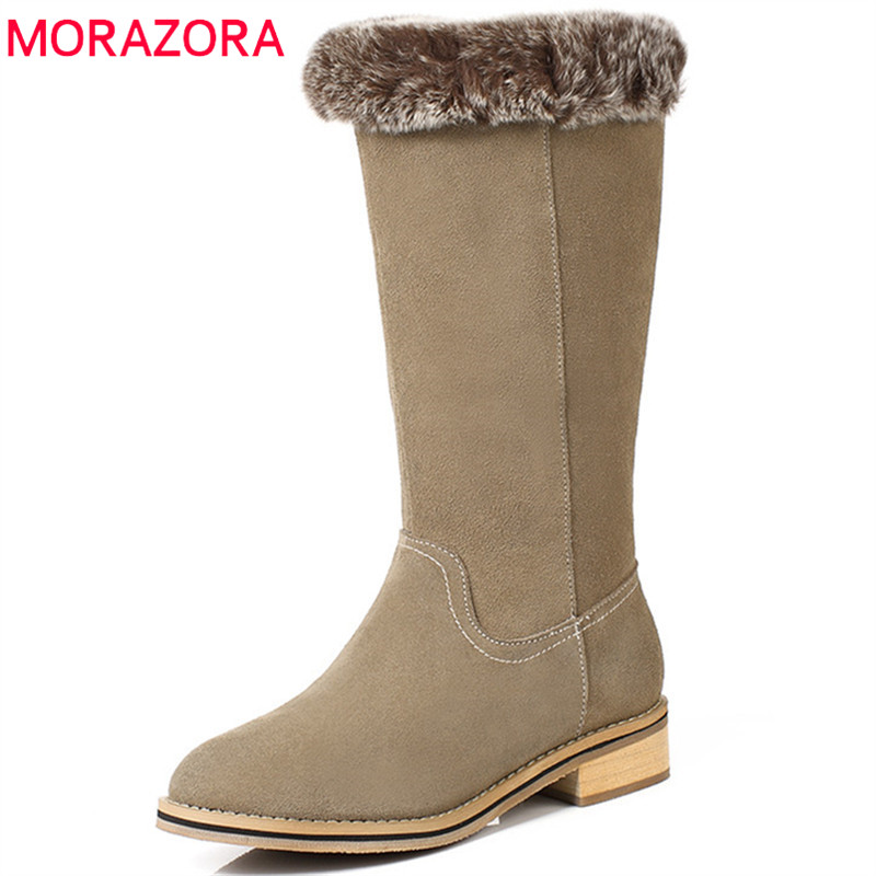 MORAZORA 2018 new arrival suede leather boots women round toe mid calf boots keep warm winter snow boots fashion shoes woman 2018 superstar cow suede platform round toe high heels snow boots keep warm winter shoes wedge zipper women mid calf boots l95