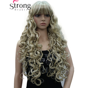 Image 1 - StrongBeauty Long Thick Wavy Black,Brown,Blonde Highlighted Synthetic Wig Women Wigs