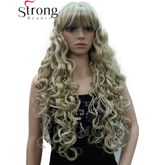 StrongBeauty Long Thick Wavy Black,Brown,Blonde Highlighted Synthetic Wig Women Wigs
