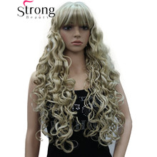 StrongBeauty largo grueso ondulado negro, marrón, Rubio resaltado peluca sintética mujeres pelucas