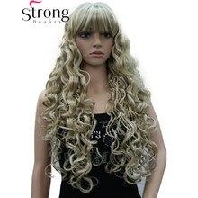 Strongbeauty longo grosso ondulado preto, marrom, loira destacada peruca sintética perucas femininas