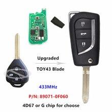 Keyecu Модернизированный дистанционный Автомобильный ключ 3 кнопки 433 МГц для Toyota Avensis Europe, для Yaris UK P/N: 89071-0F060