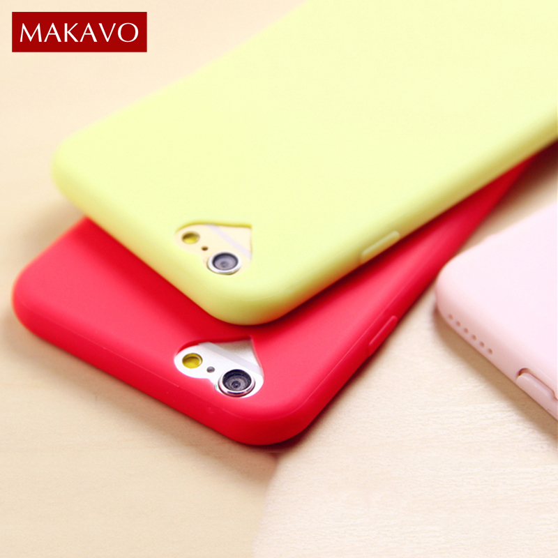 MAKAVO Phone Case For iPhone 6 6S Plus Soft TPU Candy Color Slim Matte Cover For iPhone7 iPhone 5 5S SE 7 8 6 6s Plus Cases