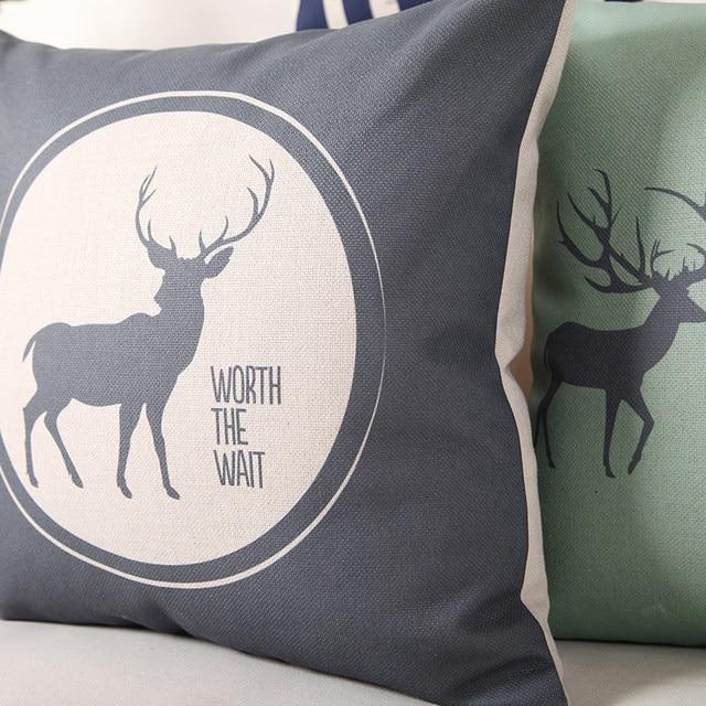 Custom Made Modern Simplicity Sofa Throw Pillows Scandinavian Style Cushion  For Sofas Deer Pattern Decorative Throw Pillow