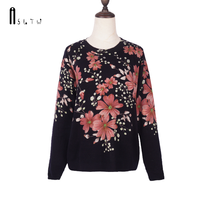 ASLTW Female Pullovers Autumn Fashion Print Long Sleeve O Neck Plus Size Print Flower Knitting Pullover Sweater For Women