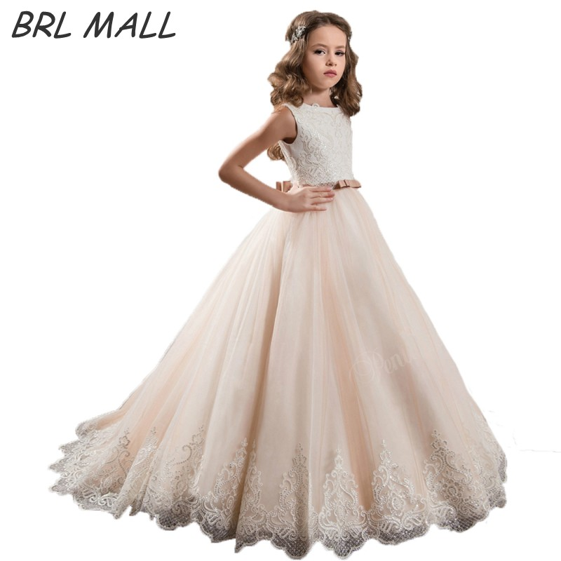 Lovely Lace Appliques Blush   Flower     Girl     Dresses   with Bow 2018 Sleeveless first communion   dresses   for   girls   Kids Evening Gown
