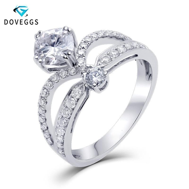 DovEggs Centro 1ct 6mm amortiguador corte Color F anillo sólido 14 K oro blanco 585 de novia anillo de compromiso las mujeres con acentos