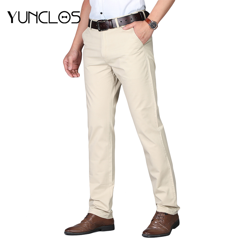Freely Mens Oversize Straight Business Hi-Waist Chino Pants Trousers