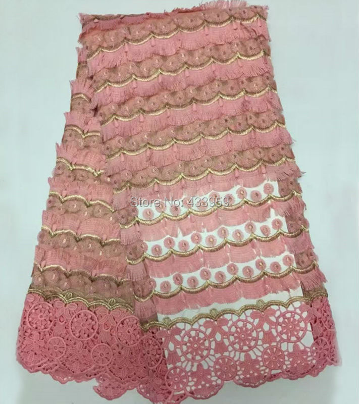 ADF161 Bianco (5 yards/lot) Africano del merletto di Filo D'oro, Appliqued tessile tessuto del merletto, di alta qualità 4 di colore tessuto di pizzo francese-in Pizzo da Casa e giardino su  Gruppo 1