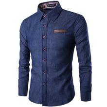 2017, Новая мода бренд мужской рубашки карман борьба Кожаные модельные туфли рубашка с длинным рукавом Slim Fit Camisa masculina повседневные мужские рубашки Модель