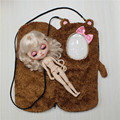 Toy Gift for blyth doll sleepbag cute doll bag with pink bow outgoing packet pink bag brown doll bag