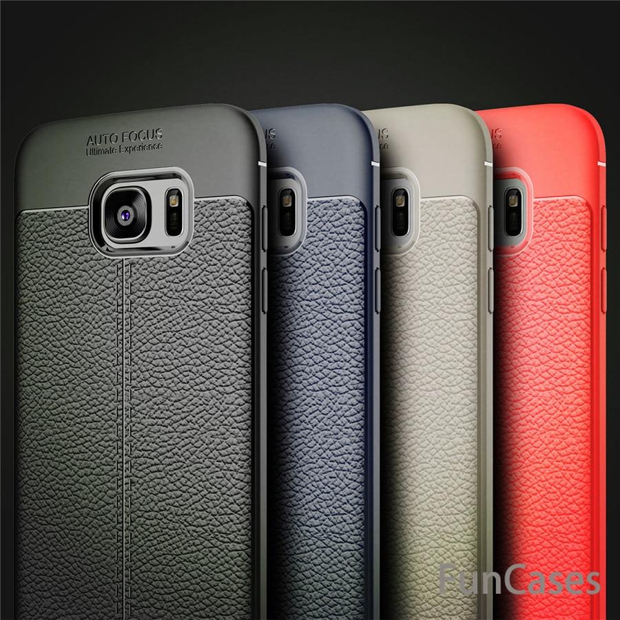 Pour Samsung Galaxy S7 Bord Cas De Luxe En Cuir TPU Silicone Cas de Téléphone Pour Samsung S7 Bord Couverture Arrière Samusung Protecteur