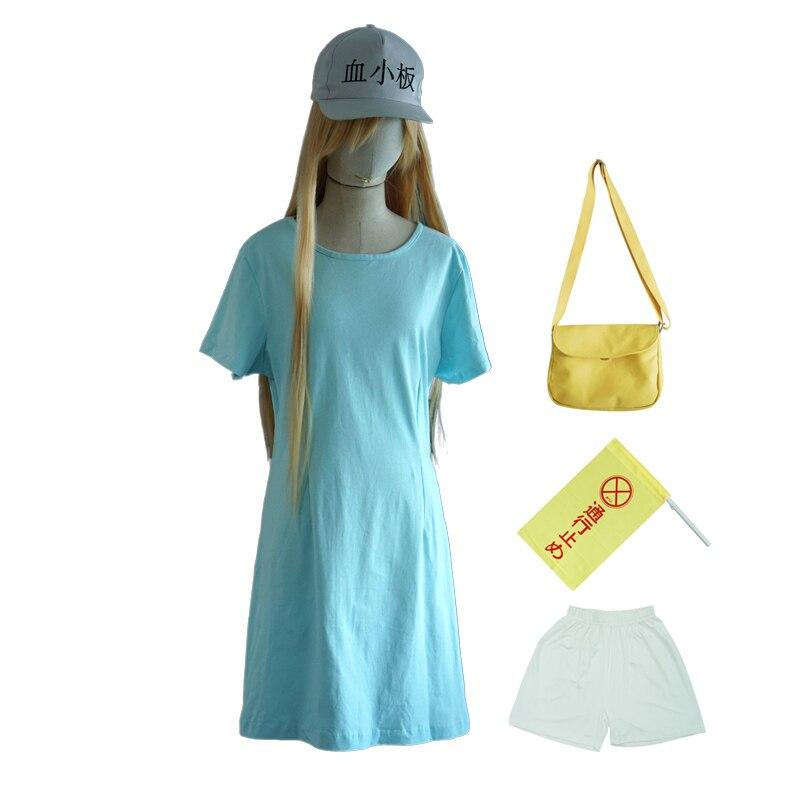 Hataraku Saibou Platelet Kesshoban Cosplay Costume Cells at Work ( T-shirt + Shorts + Cap + Bag + Flag ) Halloween Party Dress