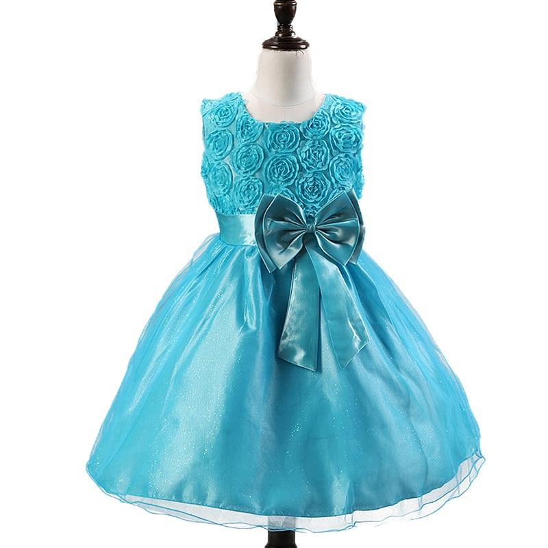 2015 new Girls Dress White Princess dress children's wear Party veil Big bow gir