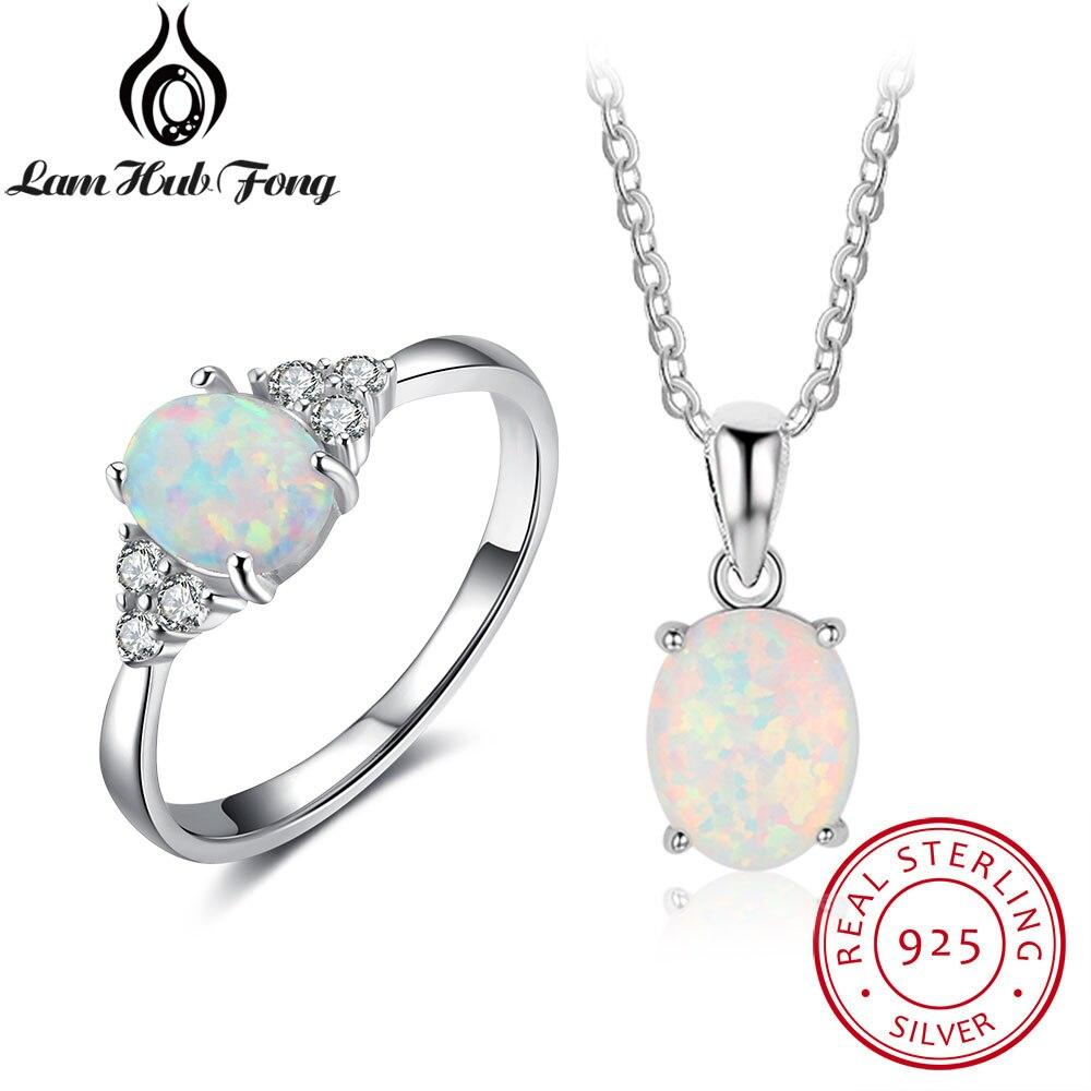 Frauen 925 Sterling Silber Schmuck Sets Oval Weiß Opal Ring Halskette Braut Edlen Schmuck Set Party Zubehör (lam Hub Fong)