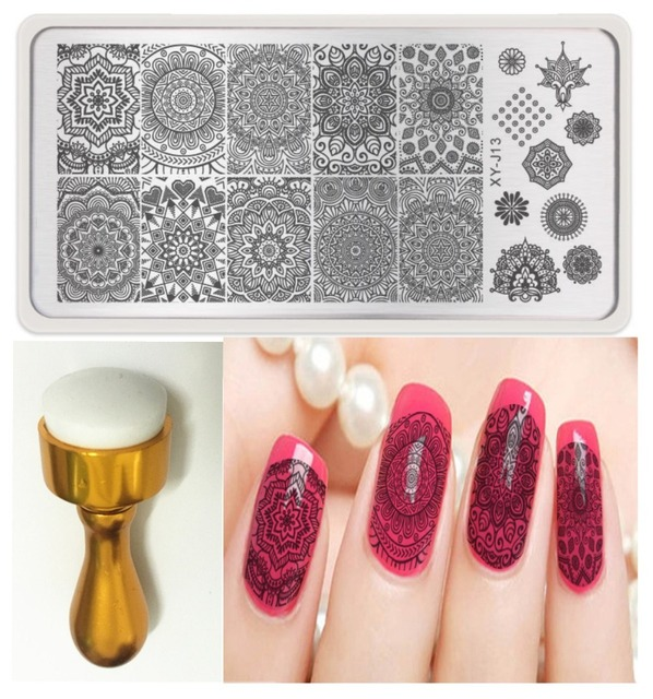 Nail Art Stencils Stamping Template+Gold Round Nail Stamp Image ...