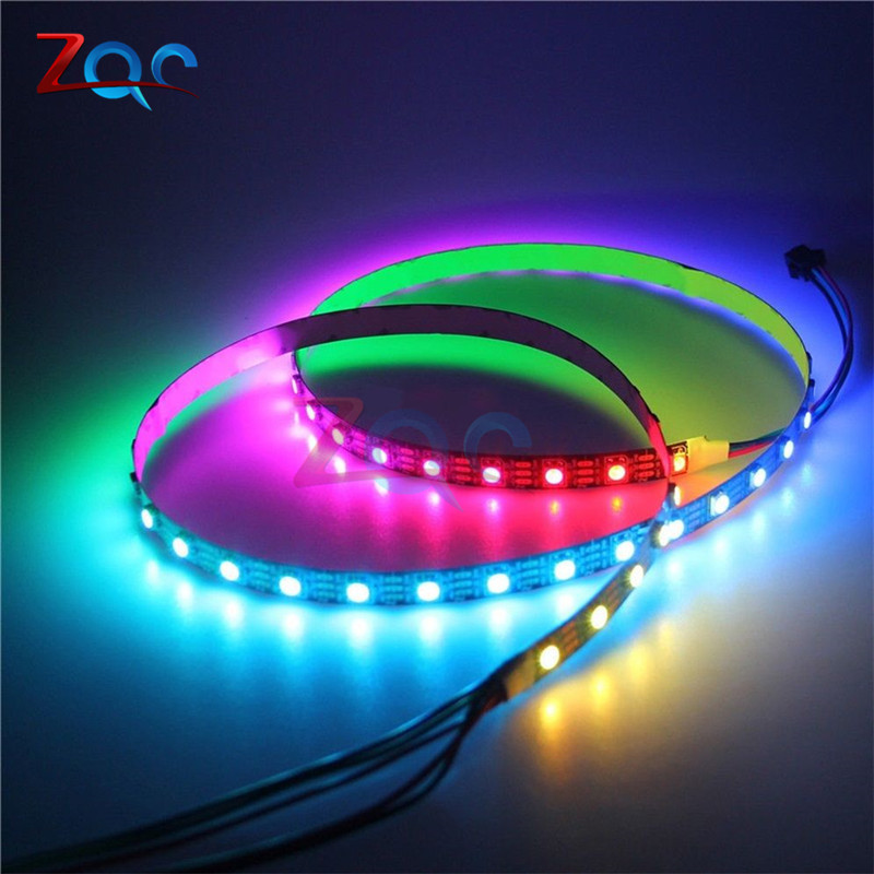 DC5V 1m WS2812B RGB individually addressable Smart LED pixel strip,Black/White PCB 60 leds/m WS2812 IC Waterproof DC 5V