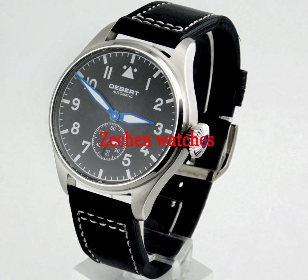 Debert 42mm Black Dial Luminous Sapphire Glass Automatic Date Day Men Watch 1910