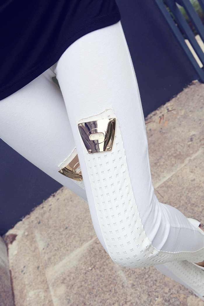 Mulheres personalidade Da Moda Couro Pu Patchwork Magro Leggings Para Mulheres Elásticas Calças Calças Skinny Lápis Calças Transporte Da gota Menina