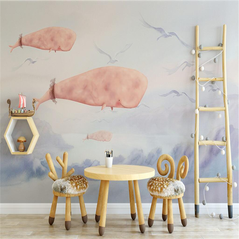 Custom Wall Paper 3d Hand Painted Cartoon Seaside Whale Photo Wallpaper Embossed Wall Paper TV Background Wall Mural Wallpaper