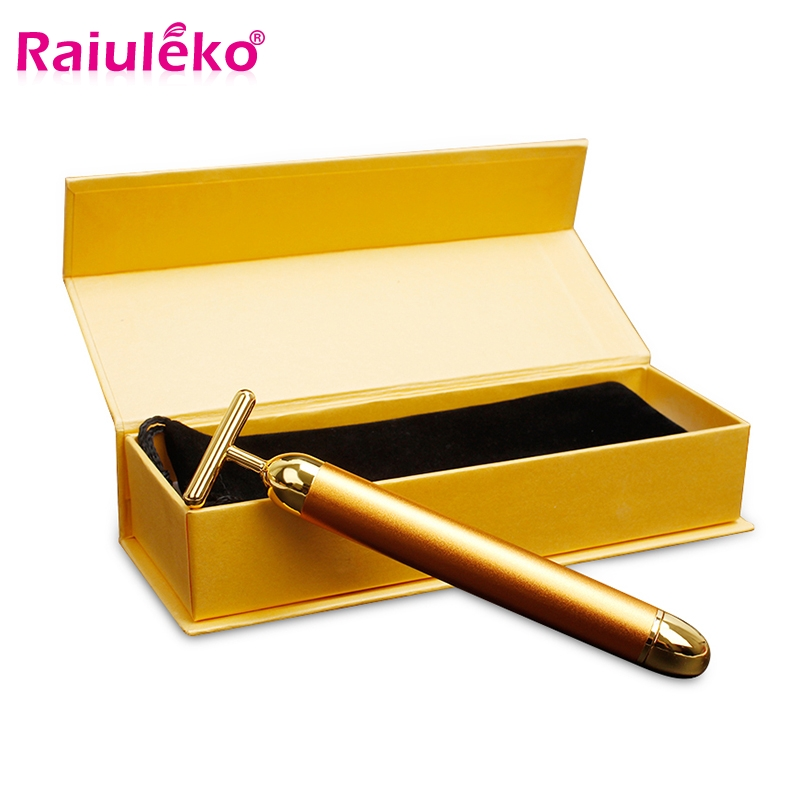 Slimming Face Care 24k Gold Facial Wrinkle Lift Bar Vibration Beauty Equipment  Facial Roller Massager Vibration Energy Bar