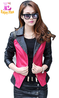 2015 Spring Outerwear Slim Leather Clothing Female Short Design Plus Size Motorcycle Leather Clothing Spring And