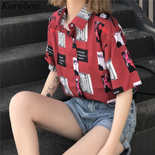 2019 New Korean Button Cartoon Print Women Blouse Fashion Su