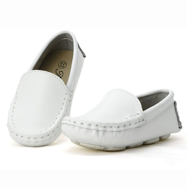 Vintage Genuine Leather Kids Moccasins Slip on Boys Leather Creepers Autumn Kids Boat Shoes For Casual Chaussure Enfant Garcon