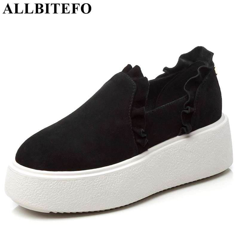 ALLBITEFO genuine leather ruffles women flats sneakers shoes solid spring flat heel shoes concise office career
