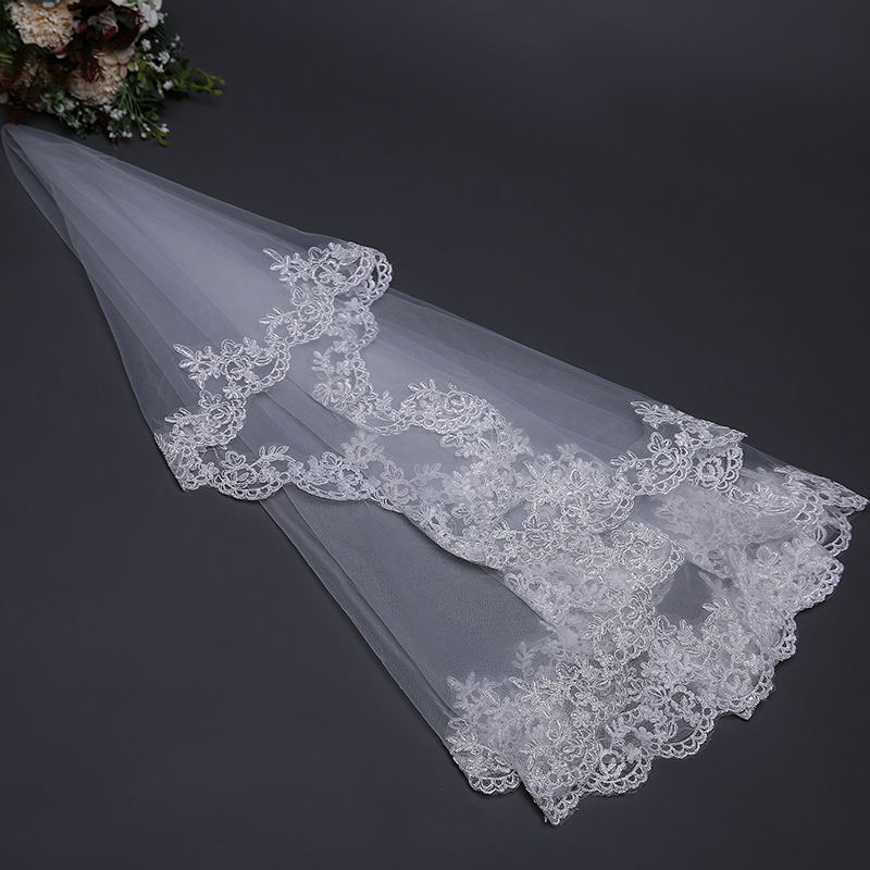 Elegant Bridal Veil 1.5m Long White/Ivory Wedding Veil Hot Sell Wedding Accessories Veu De Noiva EE705