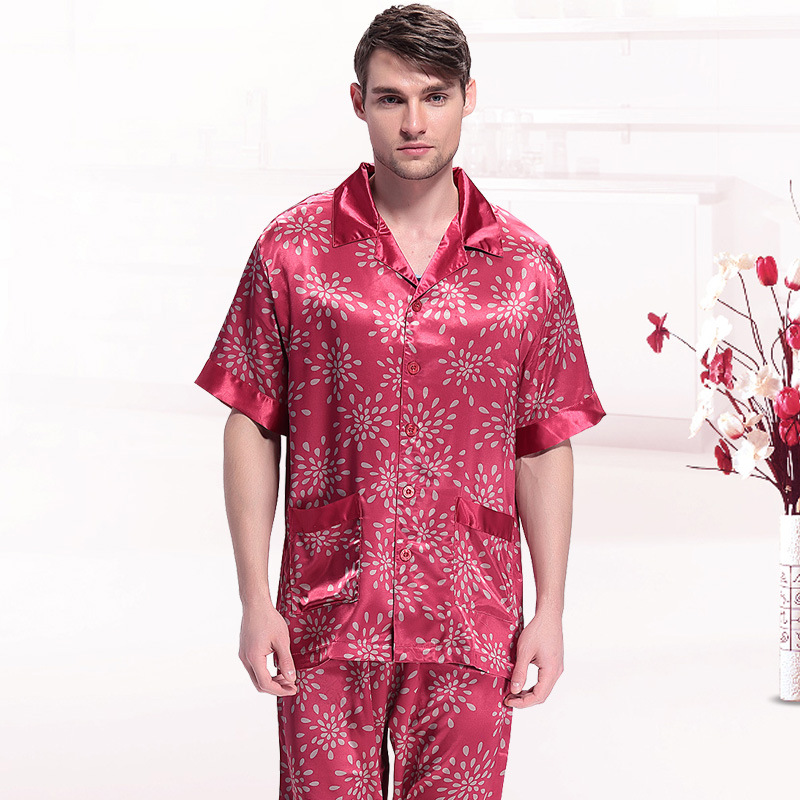 Rain Printed Silk Mens Pyjamas Silk Short-Sleeve Long Pants Pajamas For Men Satin Sleepwear Summer Homewear