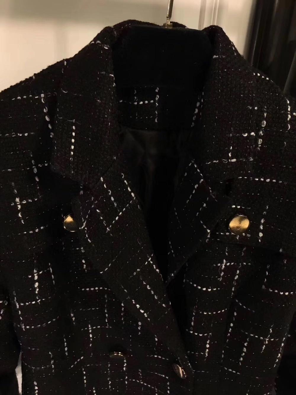 2018 De Tweed Femmes Shorts Ensembles 2 Manteau Costumes Mode H Pièce Noir rFnTw5rp6