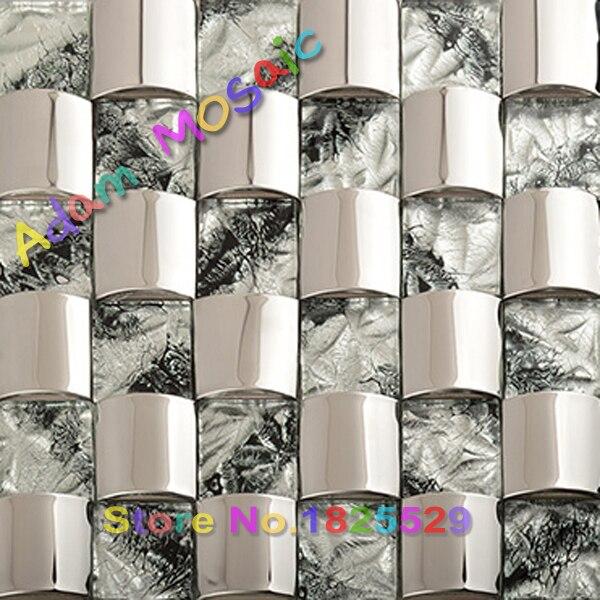 Mosaico backsplash de la cocina de acero inoxidable de la plata 3D ...