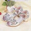 Girls High Heels Dress Shoes Cartoon Rhinestone Princess Party Sandals Toddler Kids Wedding Shoes Gladiator Sandals Pink Silver