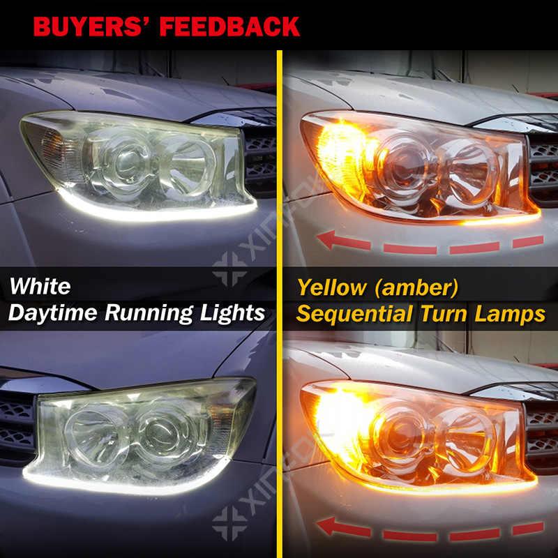 2 шт. 30 см 45 см 60 см светодиодный DRL дневные ходовые огни последовательный автомобильный гибкий светодиодный сигнал поворота Стоп резервная лампа фары