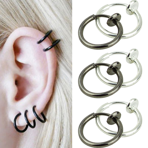 2015 hot sell Hoop Boby Clip Nose Lip Ear Rings Piercing Punk Style Goth Septum for Men 56PH