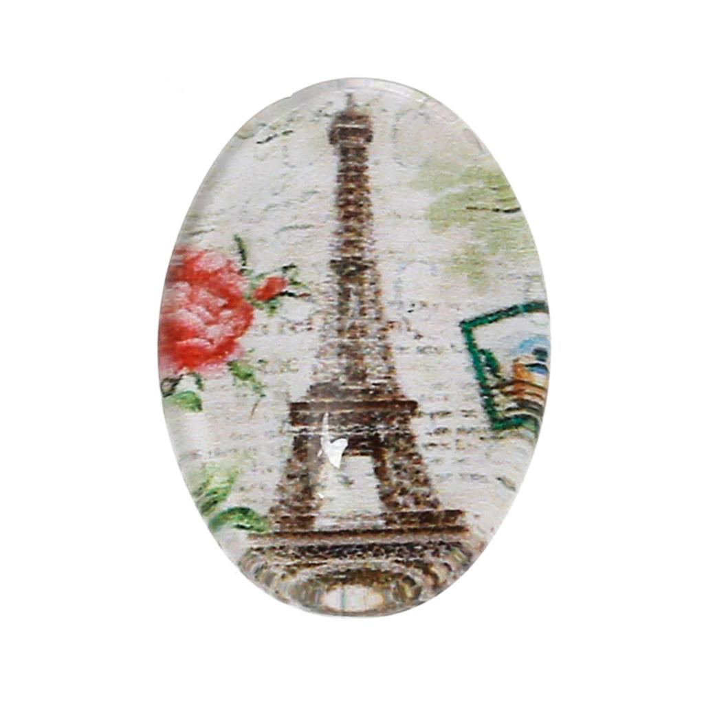 Glass Dome Seals Cabochons Embellishments Findings Oval Flatback Multicolor Eiffel Tower 14mm x 10mm ,30 PCs