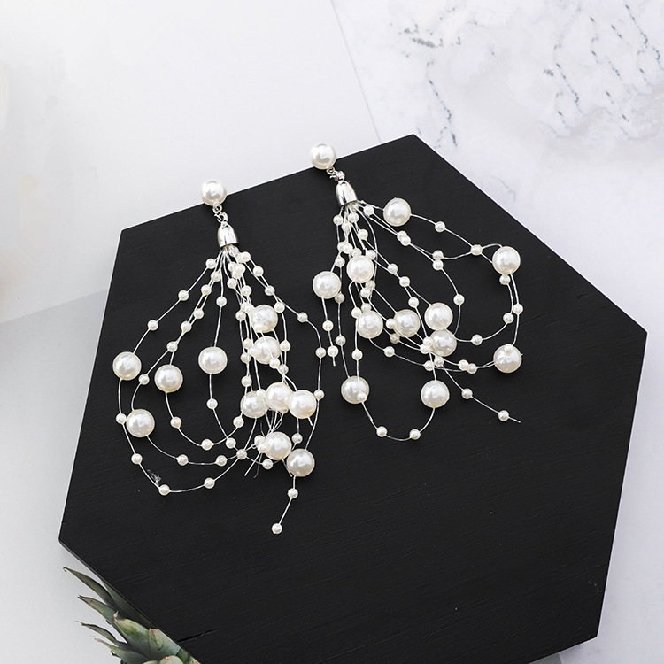 2018 Statement Delicate Dangle Tassel Brincos Exaggerate Simulated Pearl Beads Drop Earings For Bridal Charm Ear Jewelry