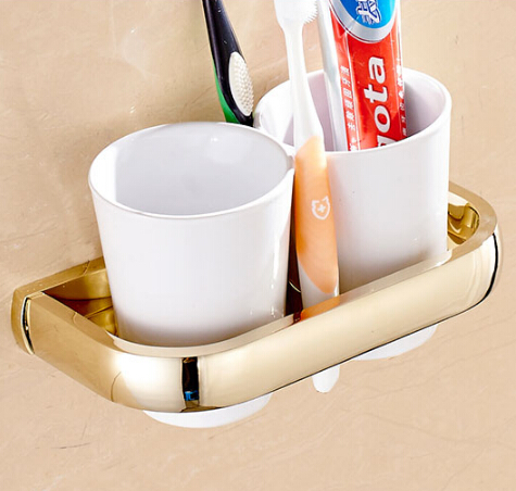European Style Double Cup Holder Toothbrush Holder with Ceramic Cups antique Brass Solid Brass Rack Tumbler Holder Wall Mounted factory retail antique brass oil rubbed bronze toothbrush holder w single ceramic cups
