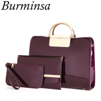 Burminsa 3 Sets Patent Leather Composite Bags Women Chain Shoulder Bags High Quality Tote Handbags Small