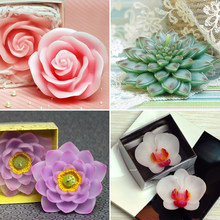 Silicone mold 3D Gem Flower Phalaenopsis Lotus Rose chocolate molds flower Wedding Candle handmade soap mold aroma stone moulds