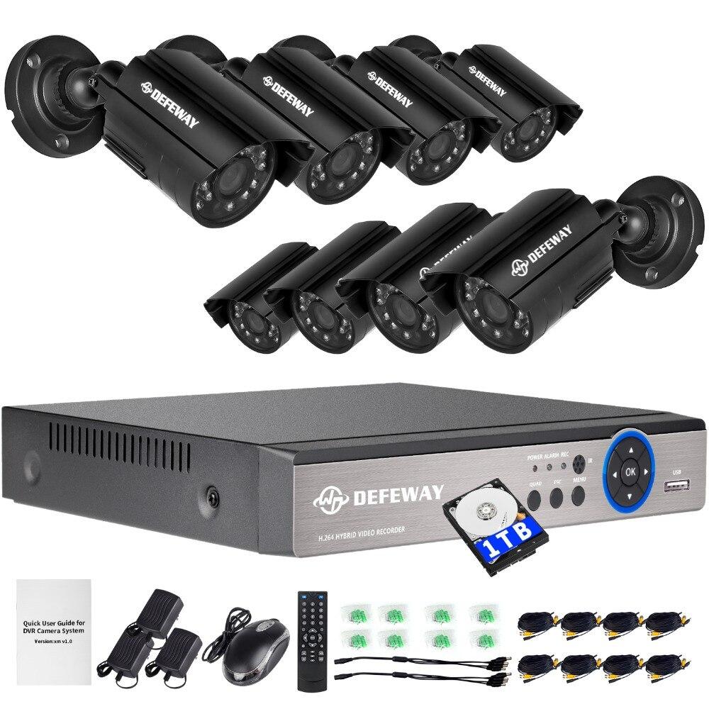 DEFEWAY 1200TVL 720 P HD Caméra de Sécurité Extérieure Système 1 TB Disque Dur 8 Canal 1080N HDMI CCTV DVR Kit 8CH AHD Caméra Ensemble