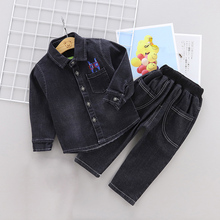 DIIMUU 2Pcs Kids Fashion Boys Clothing Soft Denim Children Clothes Casual Outfits Long Sleeve Buttons Coats Tops Pants Sets