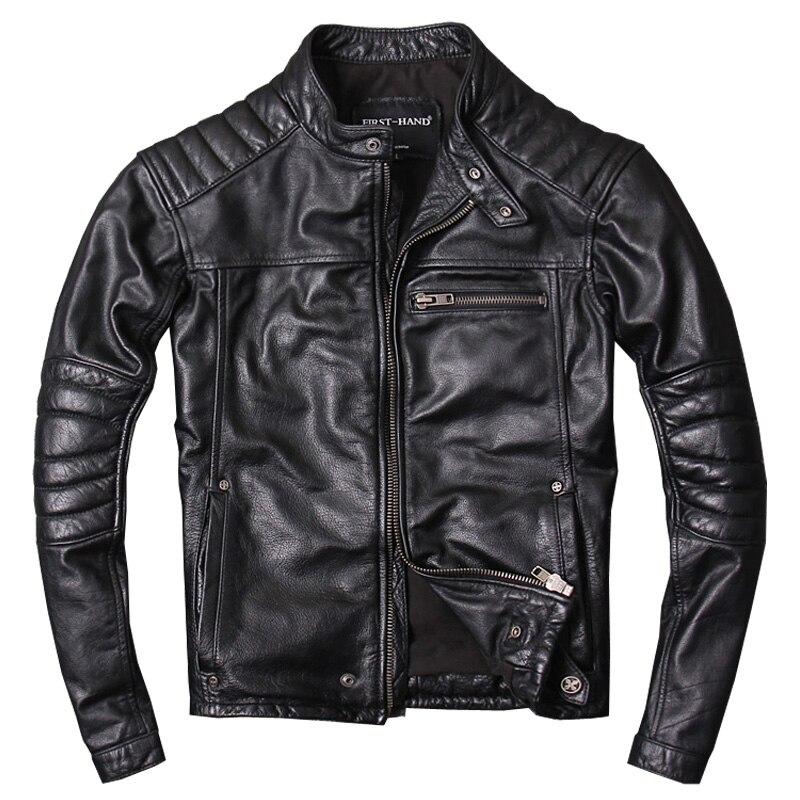 Jacket Biker's Motorcycle Harley Damson Genuine-Cowhide XXXL Short Fashion Black Slim