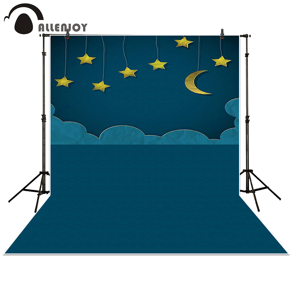 Allenjoy photography backdrop Moon Star Cloud night black baby shower children background photo studio photocall