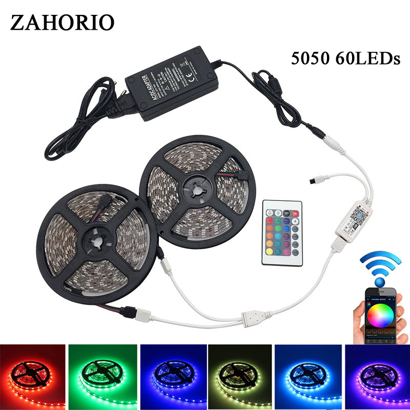 WiFi LED Strip 5M 5050 2835 DC 12V 300 LED RGB strip light LED waterproof flexible LED Diode Tape WiFi controller + EU Adapter