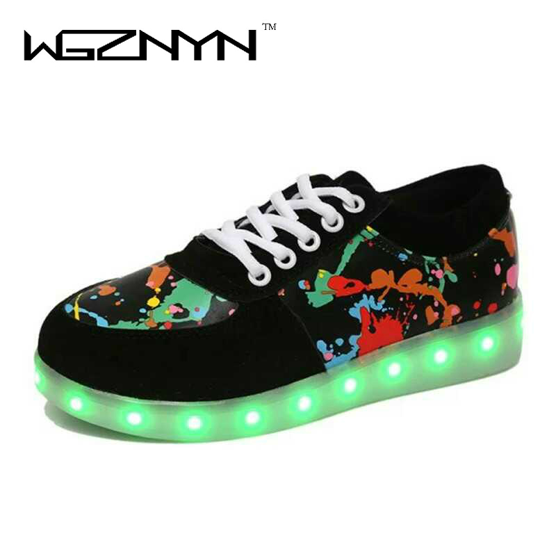 WGZNYN 2017 New Arrival Led Casual Shoes Glowing 7 Colors LED Women Unisex Fashion Luminous Led Light Shoe for Adults Size 35-44 8 color led luminous shoes unisex glow shoe men women fashion lover tide leather recharge usb light shoes