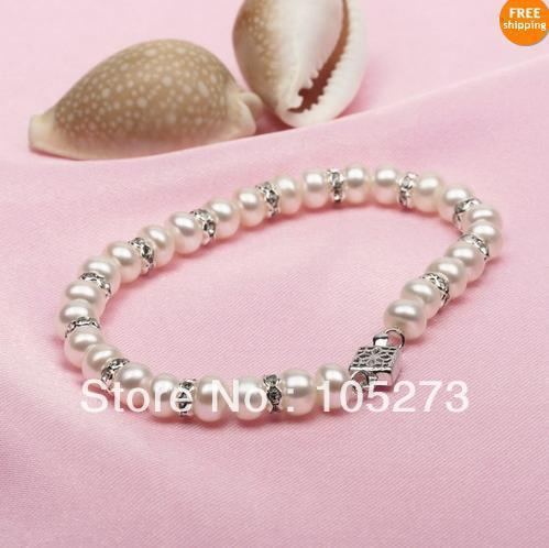 Charme pérola jóias 8 '' 7 - 8 MM cor branca Natural de Pearl & cristal pulseira moda Lady 's presente atacado nova frete grátis
