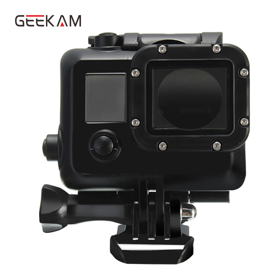 GEEKAM Black 45M Diving Waterproof Housing case Cover For Gopro Hero 4 3+ 3 Sports cam Camera GoPro Hero 4 Accessories